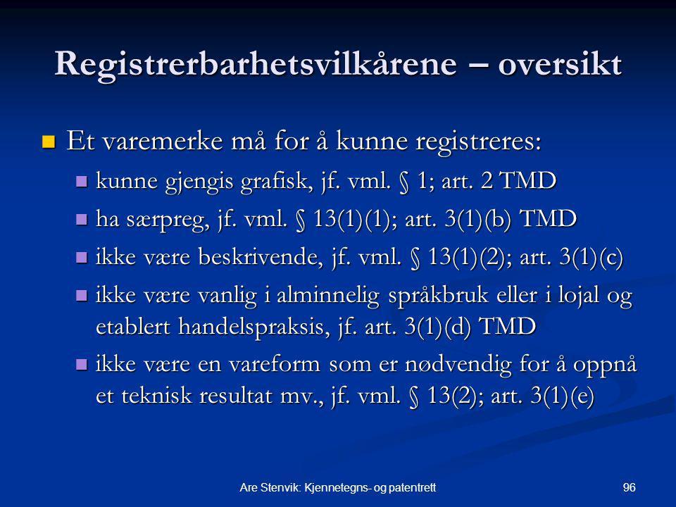96Are Stenvik: Kjennetegns- og patentrett Registrerbarhetsvilkårene – oversikt Et varemerke må for å kunne registreres: Et varemerke må for å kunne registreres: kunne gjengis grafisk, jf.