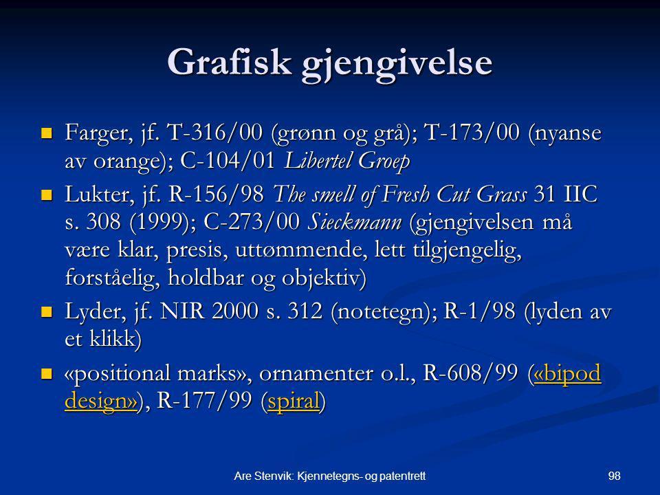 98Are Stenvik: Kjennetegns- og patentrett Grafisk gjengivelse Farger, jf. T-316/00 (grønn og grå); T ‑ 173/00 (nyanse av orange); C-104/01 Libertel Gr