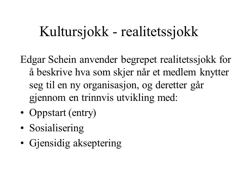 Kultursjokk - realitetssjokk Edgar Schein anvender begrepet realitetssjokk for å beskrive hva som skjer når et medlem knytter seg til en ny organisasj