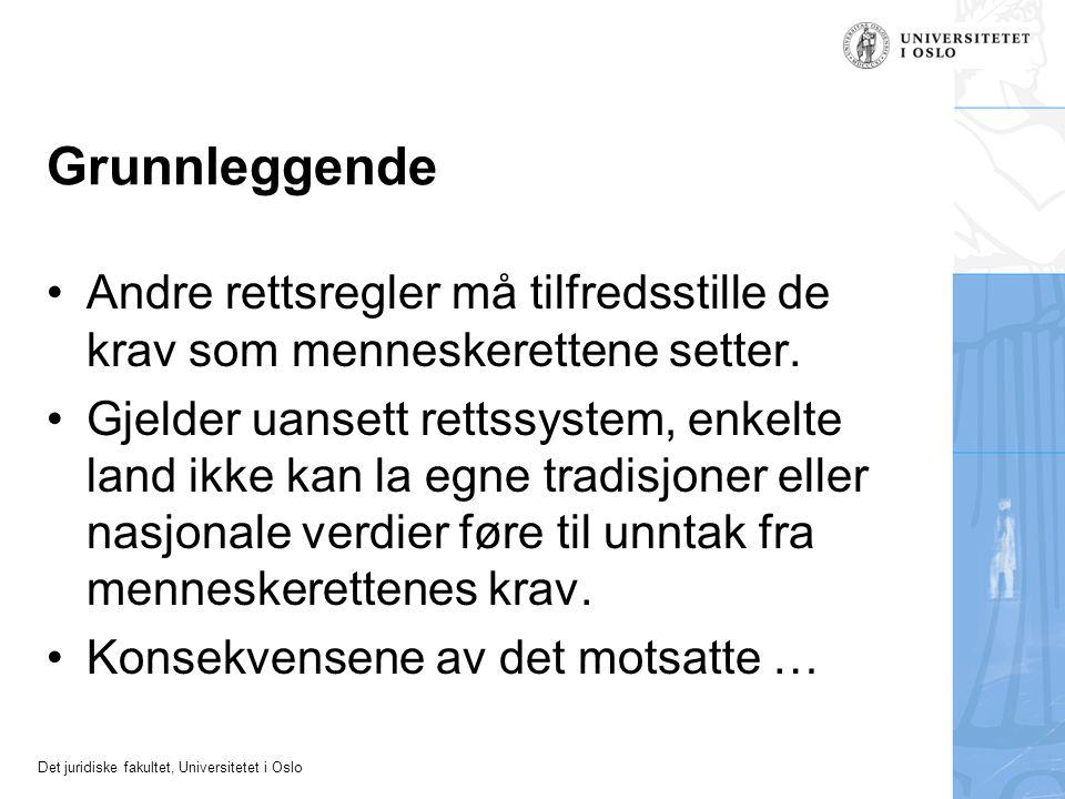 Det juridiske fakultet, Universitetet i Oslo Grunnleggende Andre rettsregler må tilfredsstille de krav som menneskerettene setter. Gjelder uansett ret