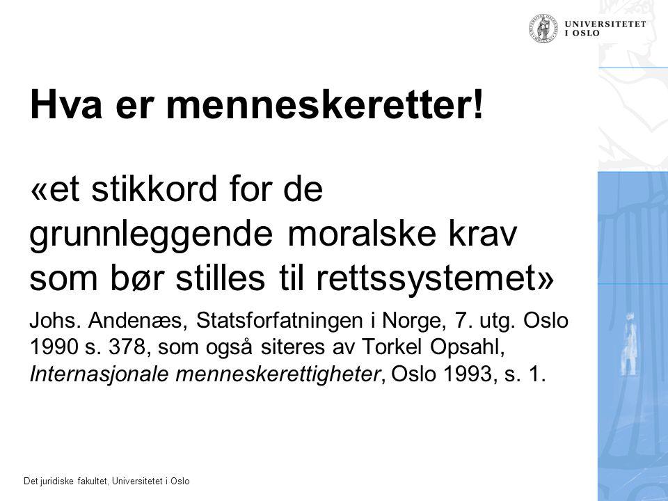 Det juridiske fakultet, Universitetet i Oslo Hva er menneskeretter! «et stikkord for de grunnleggende moralske krav som bør stilles til rettssystemet»