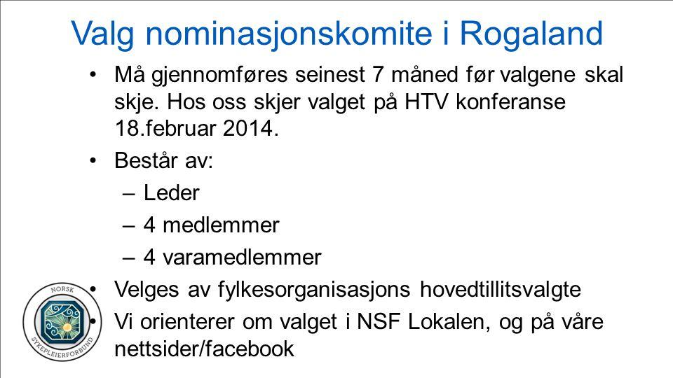 Valg nominasjonskomite i Rogaland Må gjennomføres seinest 7 måned før valgene skal skje.