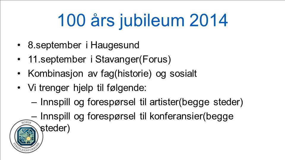 100 års jubileum 2014 8.september i Haugesund 11.september i Stavanger(Forus) Kombinasjon av fag(historie) og sosialt Vi trenger hjelp til følgende: –Innspill og forespørsel til artister(begge steder) –Innspill og forespørsel til konferansier(begge steder)