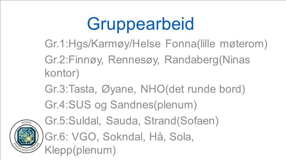 Gruppearbeid Gr.1:Hgs/Karmøy/Helse Fonna(lille møterom) Gr.2:Finnøy, Rennesøy, Randaberg(Ninas kontor) Gr.3:Tasta, Øyane, NHO(det runde bord) Gr.4:SUS og Sandnes(plenum) Gr.5:Suldal, Sauda, Strand(Sofaen) Gr.6: VGO, Sokndal, Hå, Sola, Klepp(plenum)