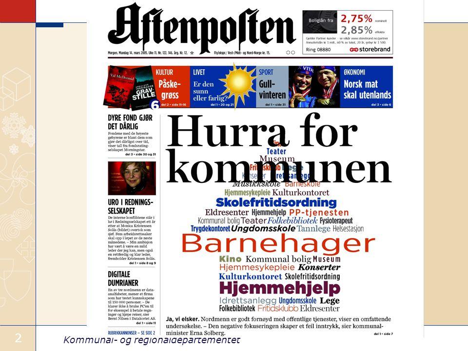 Kommunal- og regionaldepartementet 13 Dagens fylkeskommune under press Fylkeskommunen har fått redusert legitimitet, dersom en måler dette i form av valgdeltakelse.