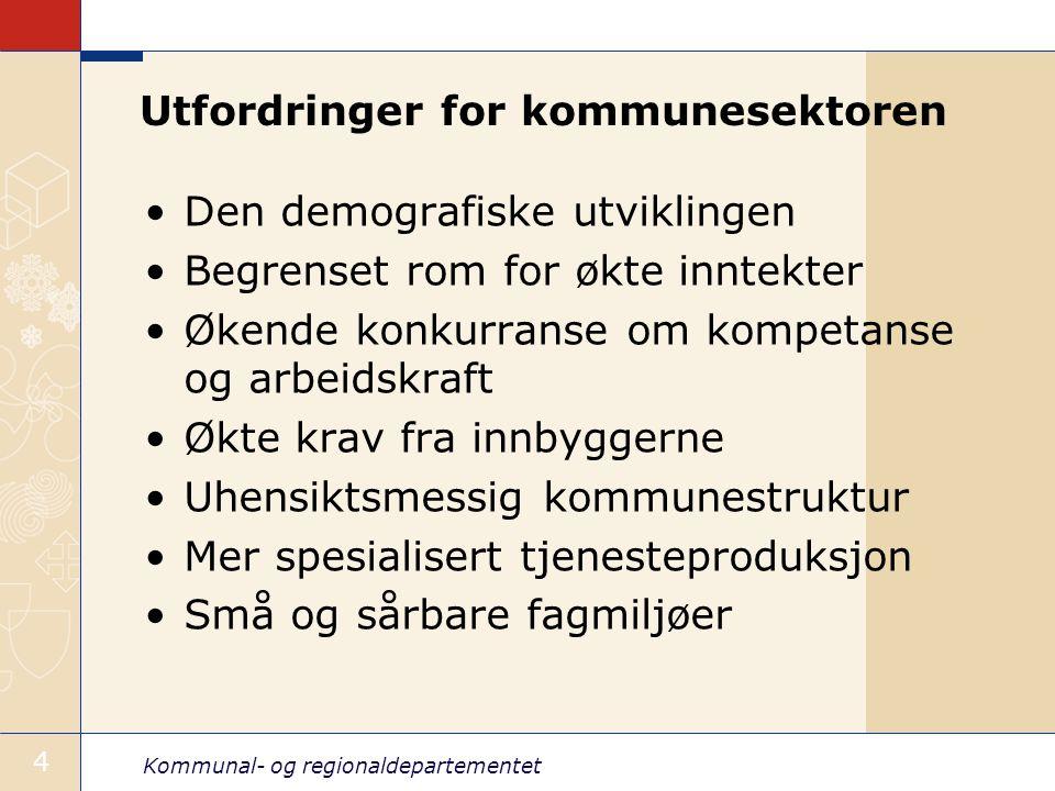 Kommunal- og regionaldepartementet 5 Behov for endring av strukturen Innbyggere 1.1.2004
