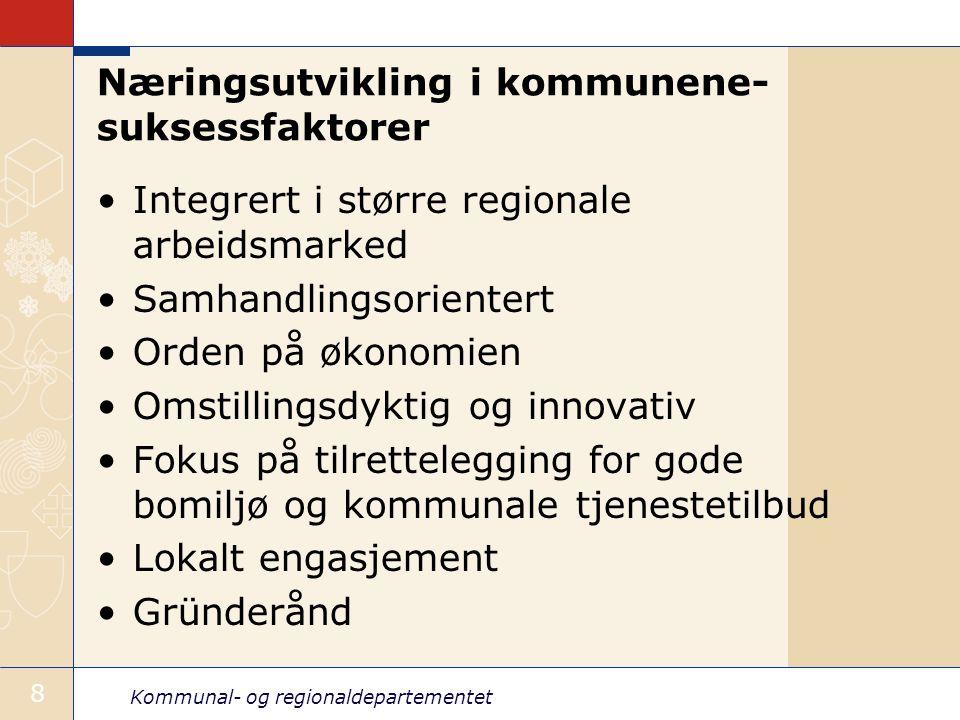 Kommunal- og regionaldepartementet 9 Mulige scenarier for kommune-Norge Regionkommuner Mer formalisert samarbeid, for eksempel samkommune Statlig beslutning om ny struktur Endringer i rammebetingelser, for eksempel inntektssystemet Oppgavedifferensiering Færre oppgaver til kommunene