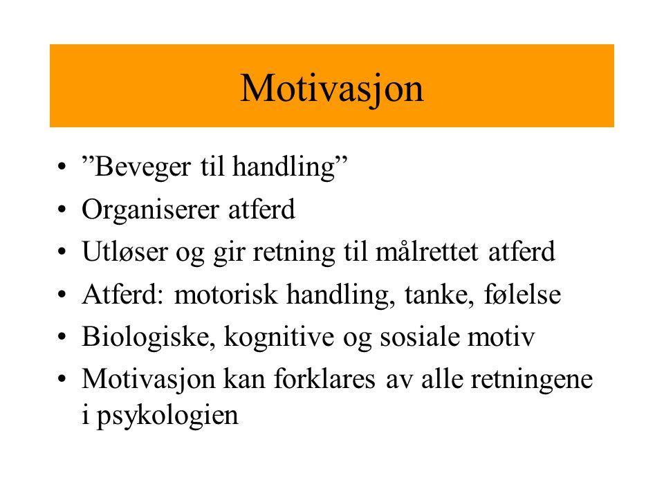 Motivasjon Beveger til handling Organiserer atferd Utløser og gir retning til målrettet atferd Atferd: motorisk handling, tanke, følelse Biologiske, kognitive og sosiale motiv Motivasjon kan forklares av alle retningene i psykologien