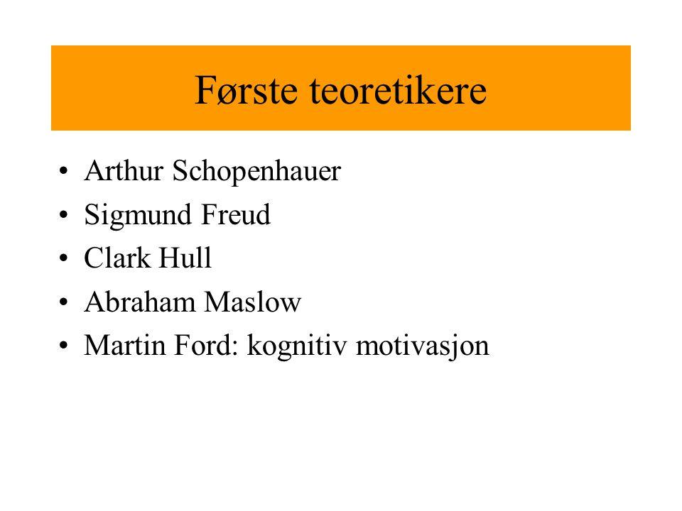 Første teoretikere Arthur Schopenhauer Sigmund Freud Clark Hull Abraham Maslow Martin Ford: kognitiv motivasjon
