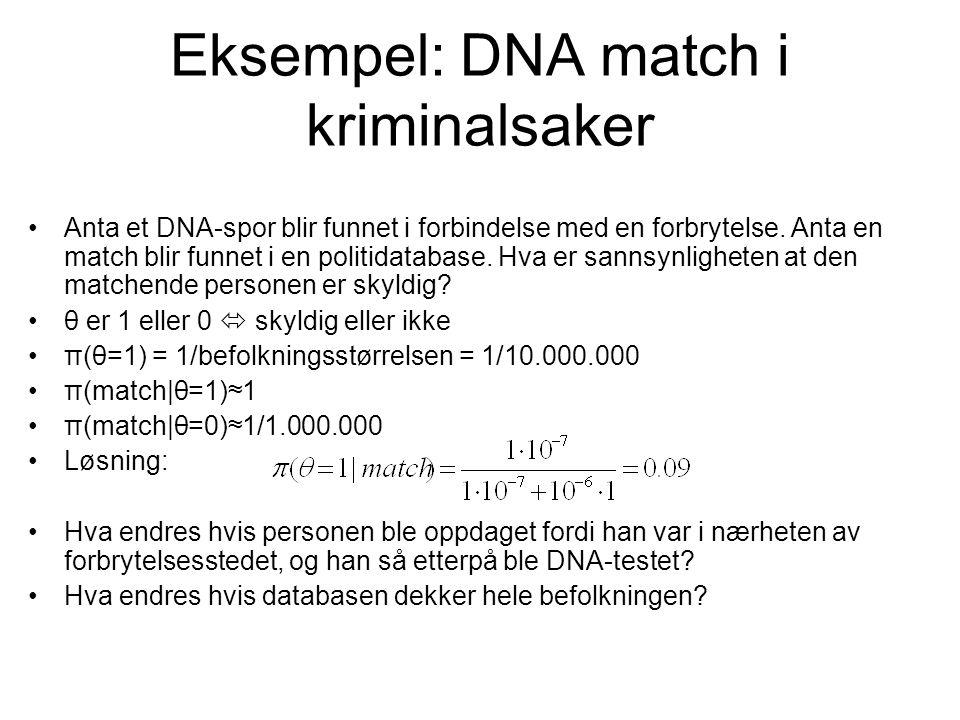 Eksempel: DNA match i kriminalsaker Anta et DNA-spor blir funnet i forbindelse med en forbrytelse. Anta en match blir funnet i en politidatabase. Hva