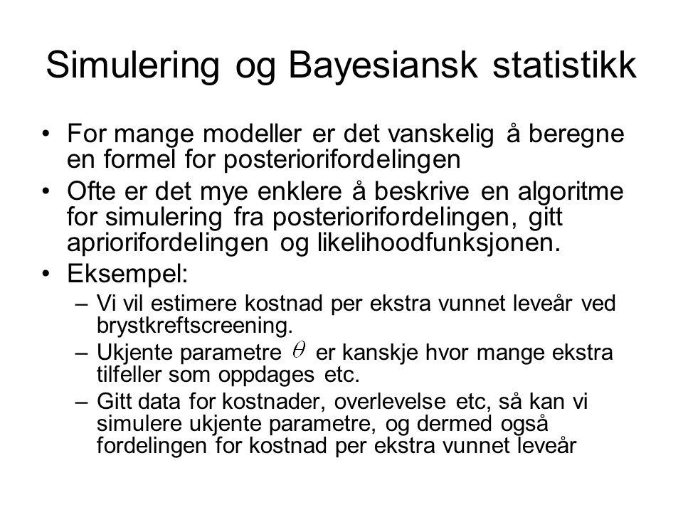 Simulering og Bayesiansk statistikk For mange modeller er det vanskelig å beregne en formel for posteriorifordelingen Ofte er det mye enklere å beskri