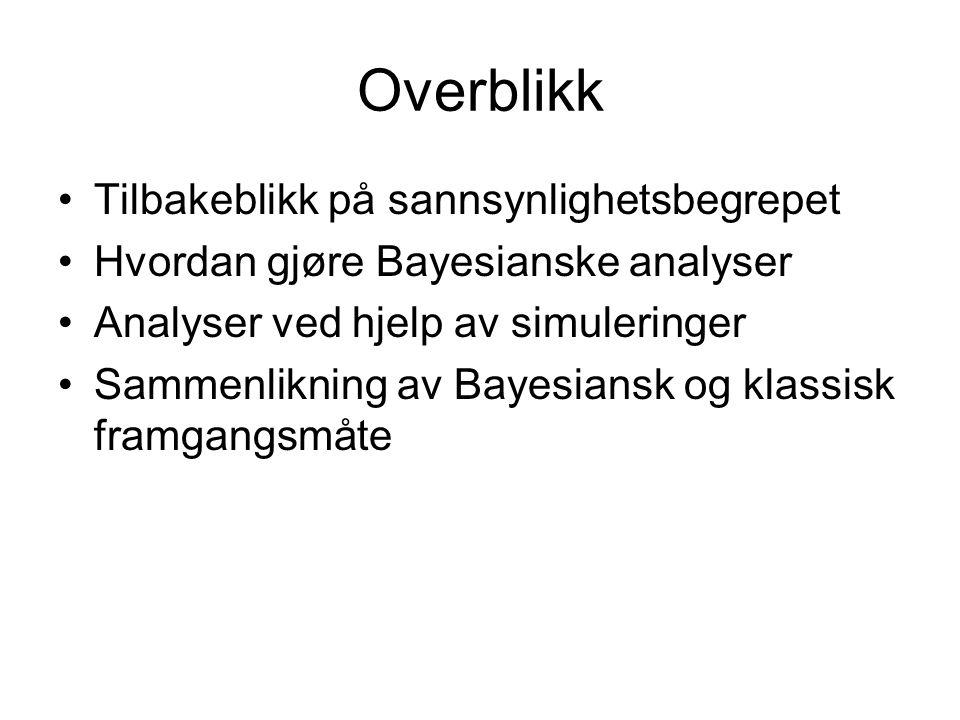 Overblikk Tilbakeblikk på sannsynlighetsbegrepet Hvordan gjøre Bayesianske analyser Analyser ved hjelp av simuleringer Sammenlikning av Bayesiansk og