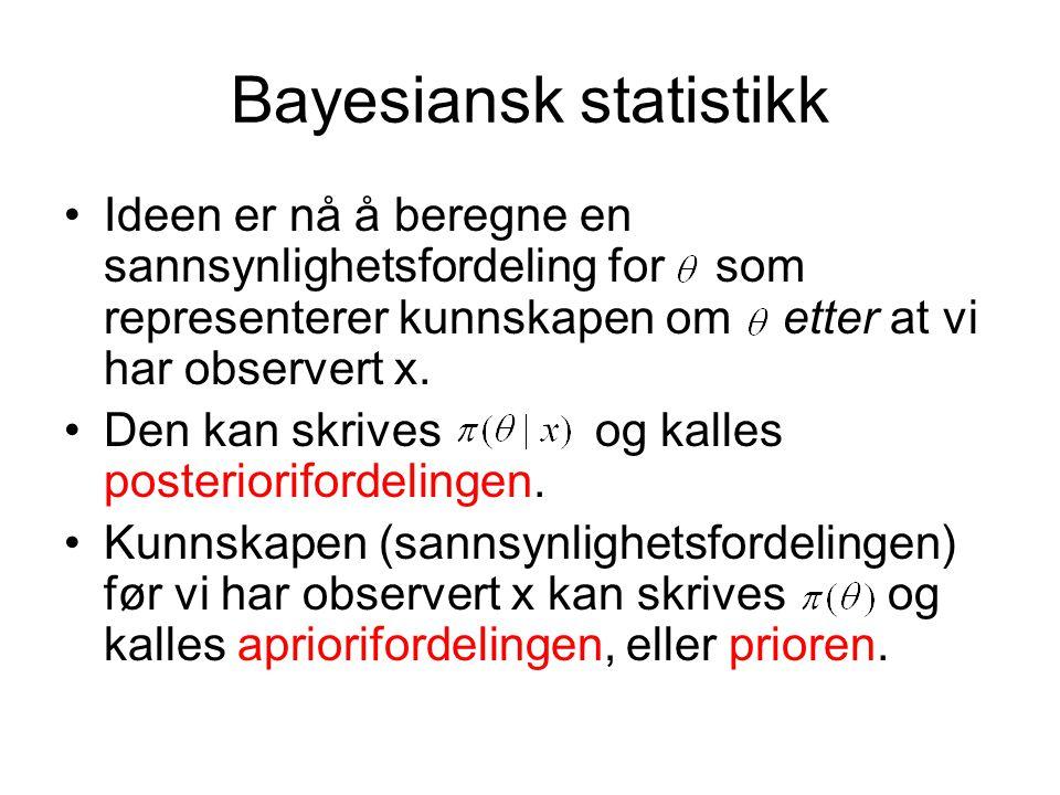 Bayesiansk statistikk Ideen er nå å beregne en sannsynlighetsfordeling for som representerer kunnskapen om etter at vi har observert x. Den kan skrive