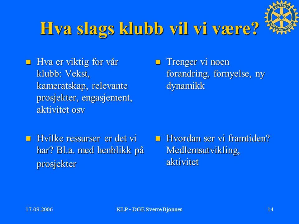 17.09.2006KLP - DGE Sverre Bjønnes13 Og så, hva nå.