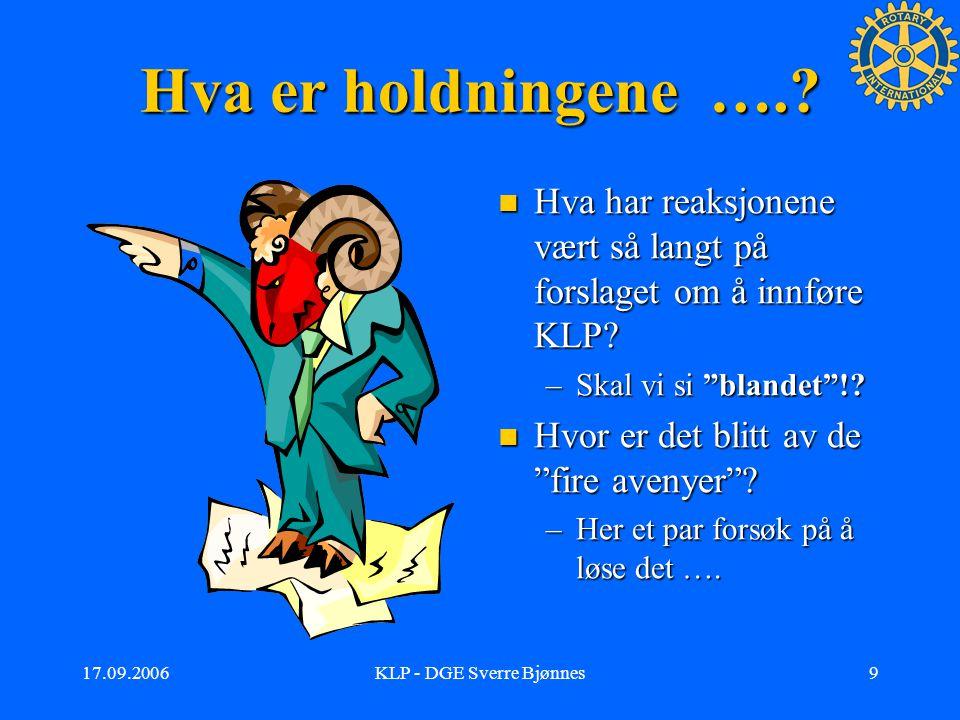 17.09.2006KLP - DGE Sverre Bjønnes8 Klubbstruktur …forts.
