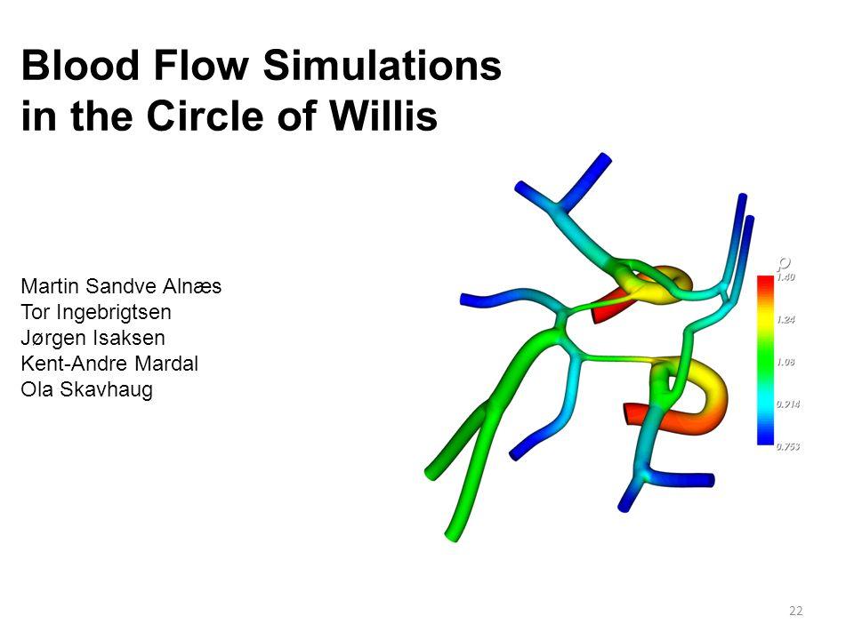 22 Blood Flow Simulations in the Circle of Willis Martin Sandve Alnæs Tor Ingebrigtsen Jørgen Isaksen Kent-Andre Mardal Ola Skavhaug