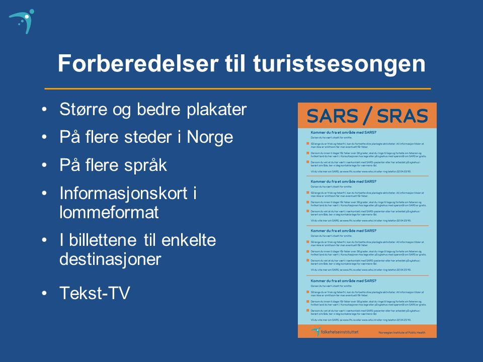 Forberedelser til turistsesongen Større og bedre plakater På flere steder i Norge På flere språk Informasjonskort i lommeformat I billettene til enkelte destinasjoner Tekst-TV