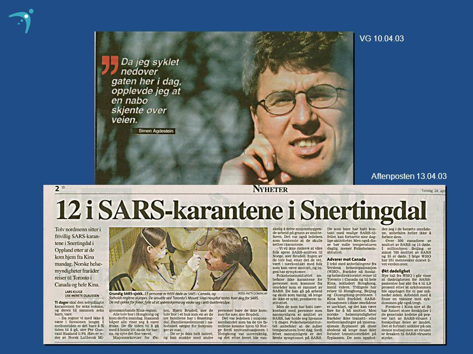 Aftenposten 13.04.03 VG 10.04.03