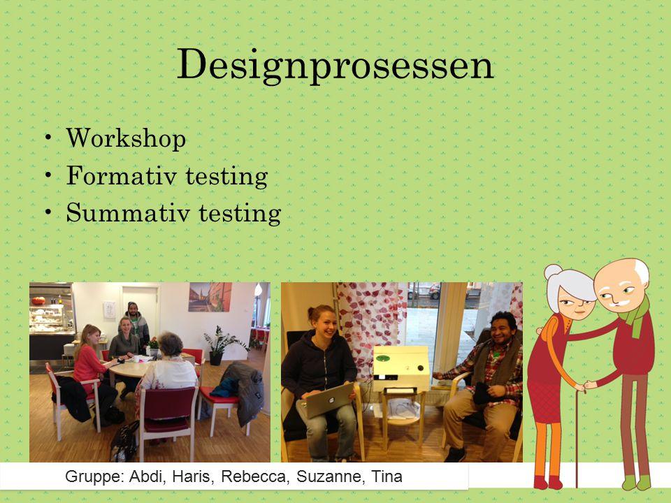 Designprosessen Gruppe: Abdi, Haris, Rebecca, Suzanne, Tina Workshop Formativ testing Summativ testing