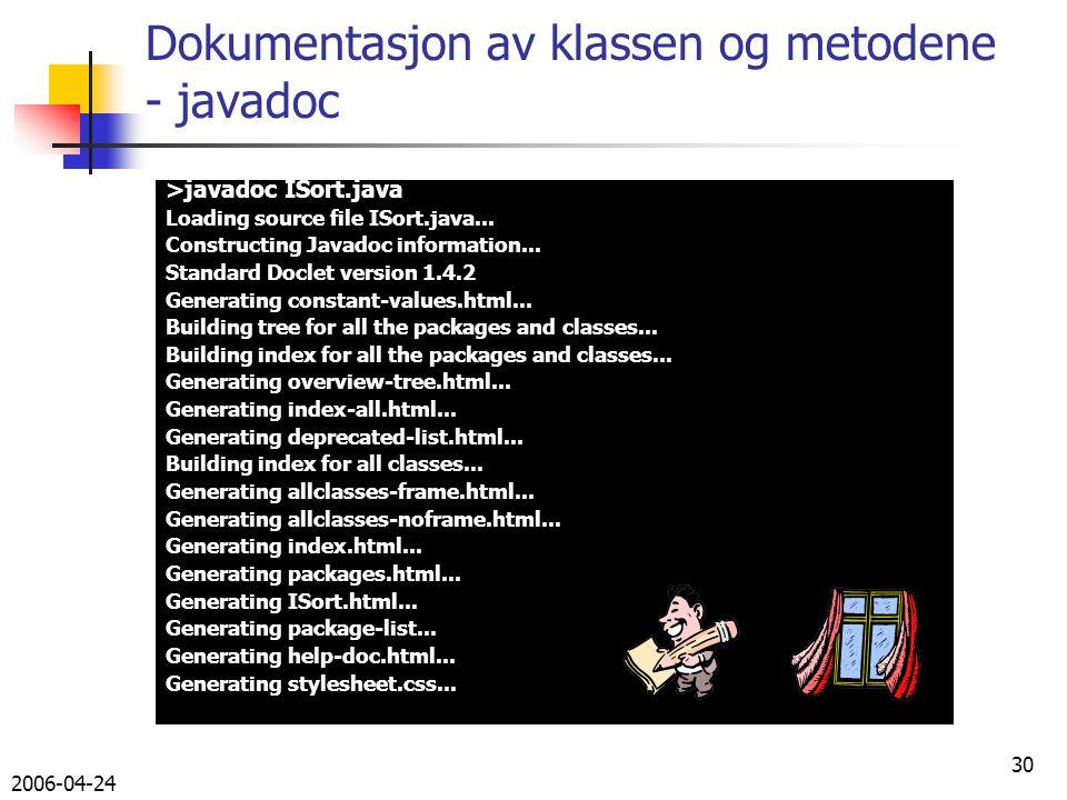 2006-04-24 30 Dokumentasjon av klassen og metodene - javadoc >javadoc ISort.java Loading source file ISort.java...