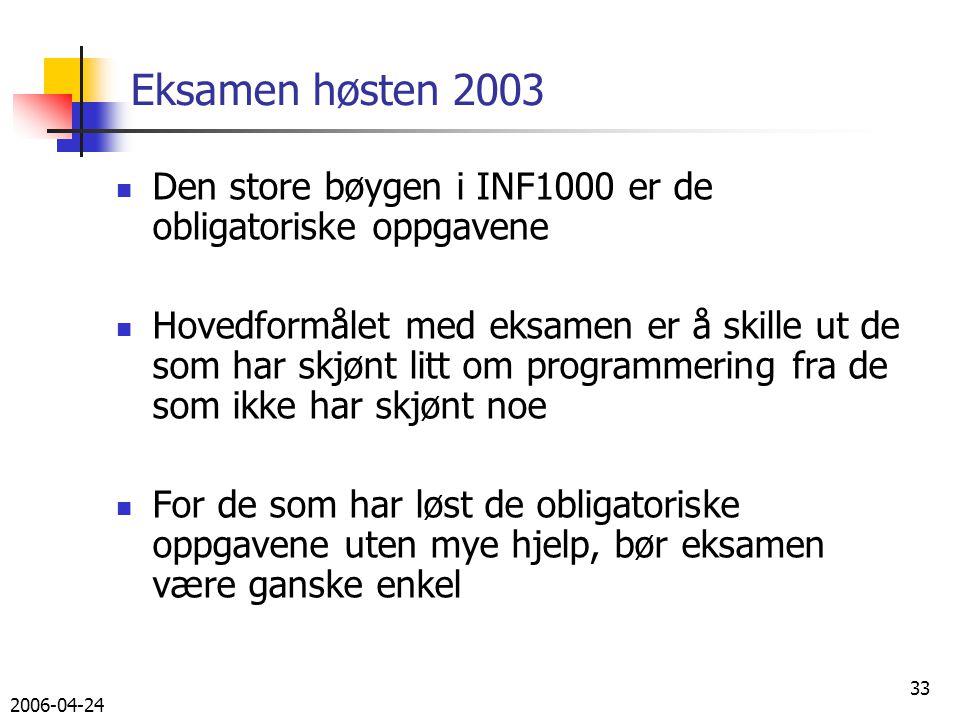 2006-04-24 33 Eksamen høsten 2003 Den store bøygen i INF1000 er de obligatoriske oppgavene Hovedformålet med eksamen er å skille ut de som har skjønt litt om programmering fra de som ikke har skjønt noe For de som har løst de obligatoriske oppgavene uten mye hjelp, bør eksamen være ganske enkel