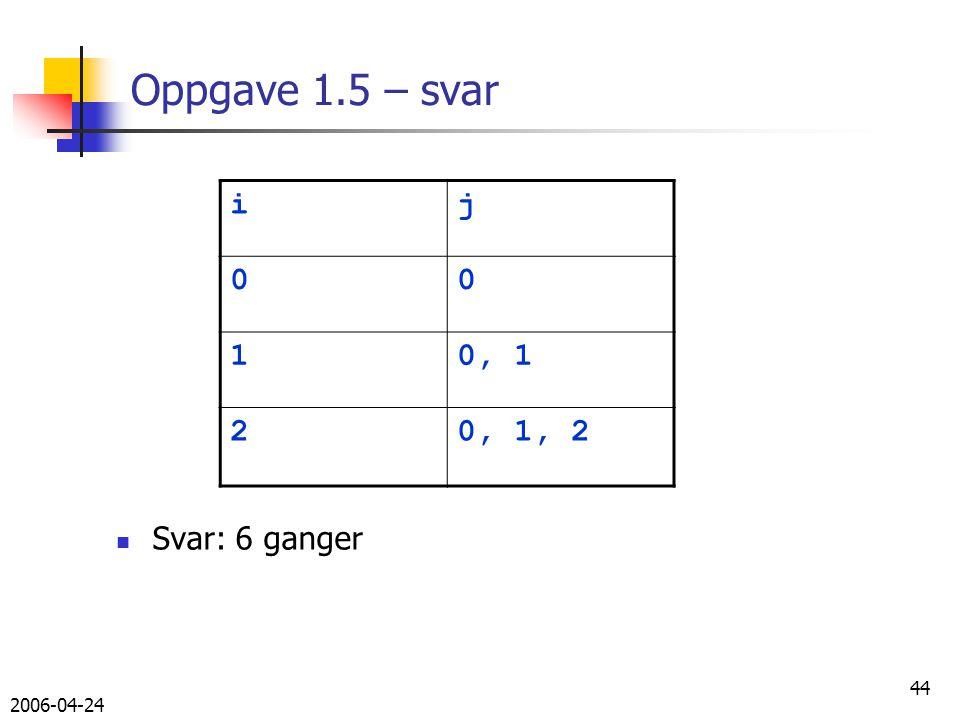 2006-04-24 44 Oppgave 1.5 – svar Svar: 6 ganger ij 00 10, 1 20, 1, 2