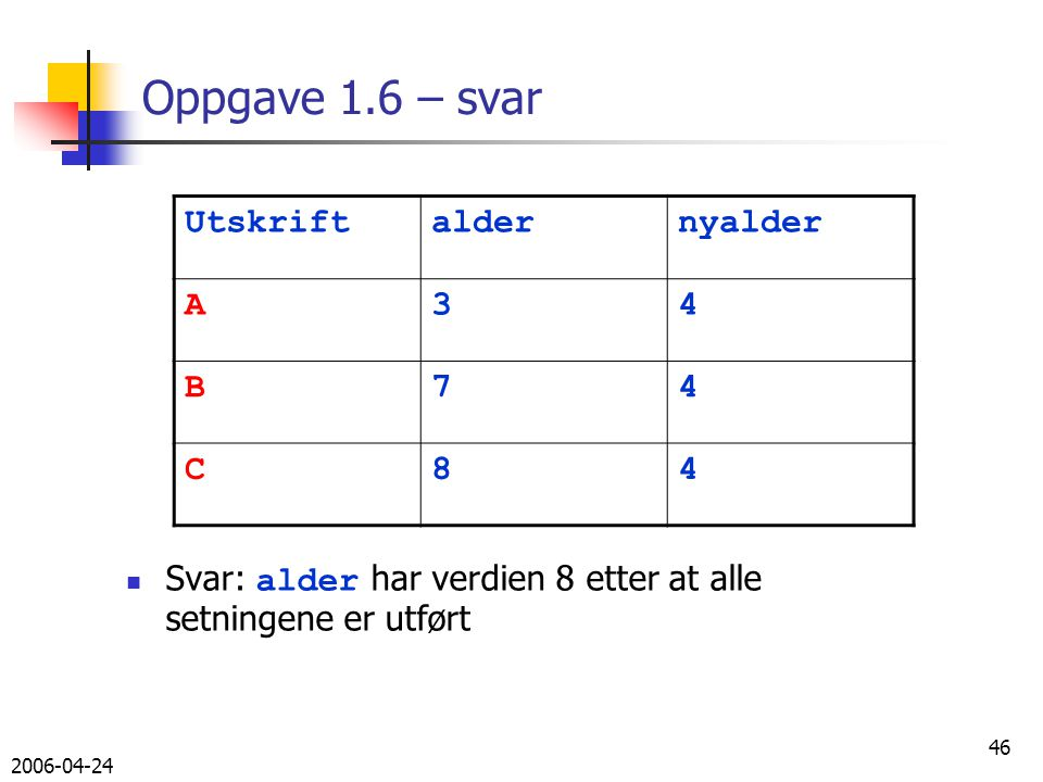 2006-04-24 46 Oppgave 1.6 – svar Svar: alder har verdien 8 etter at alle setningene er utført Utskriftaldernyalder A34 B74 C84