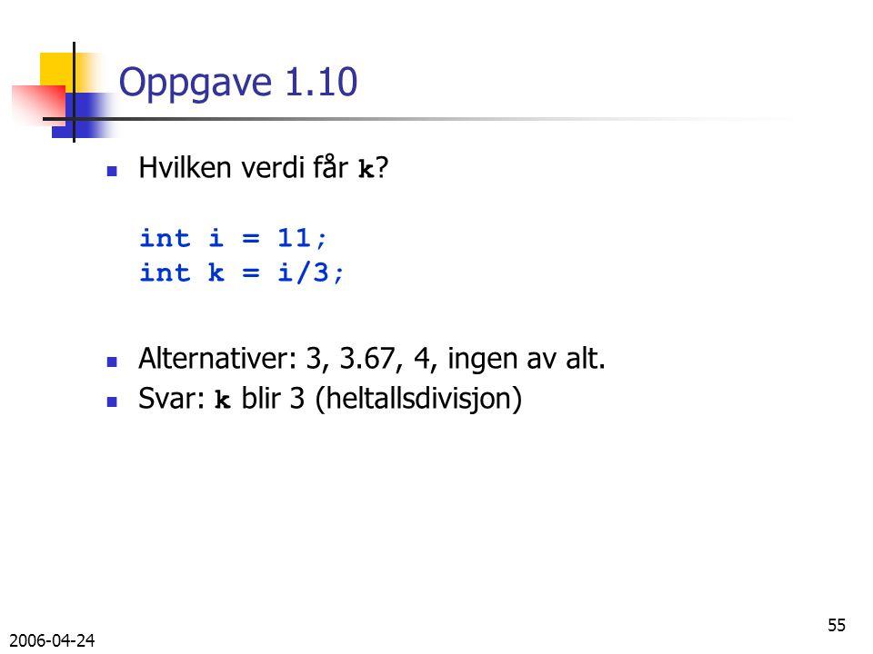 2006-04-24 55 Oppgave 1.10 Hvilken verdi får k .