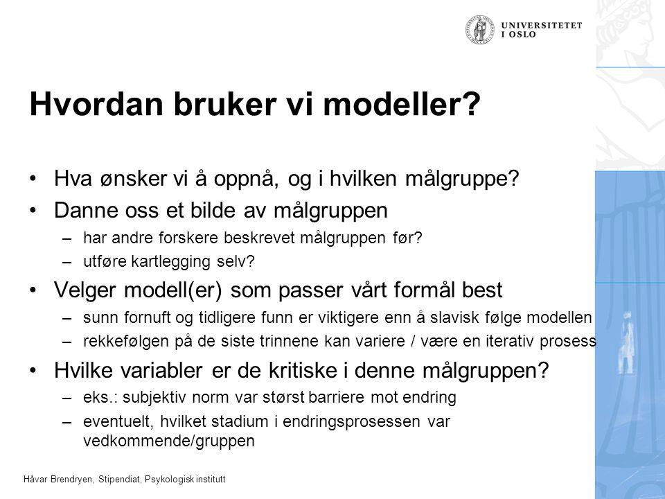 Håvar Brendryen, Stipendiat, Psykologisk institutt Hvordan bruker vi modeller? Hva ønsker vi å oppnå, og i hvilken målgruppe? Danne oss et bilde av må