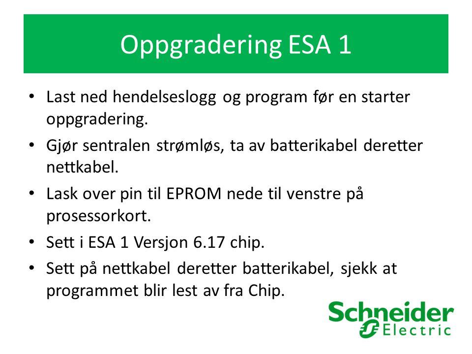 Oppgradering ESA 1 Last ned hendelseslogg og program før en starter oppgradering.