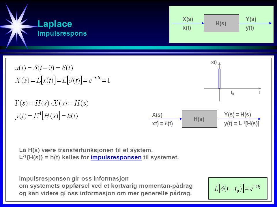 Laplace Impulsrespons La H(s) være transferfunksjonen til et system. L -1 {H(s)} = h(t) kalles for impulsresponsen til systemet. Impulsresponsen gir o
