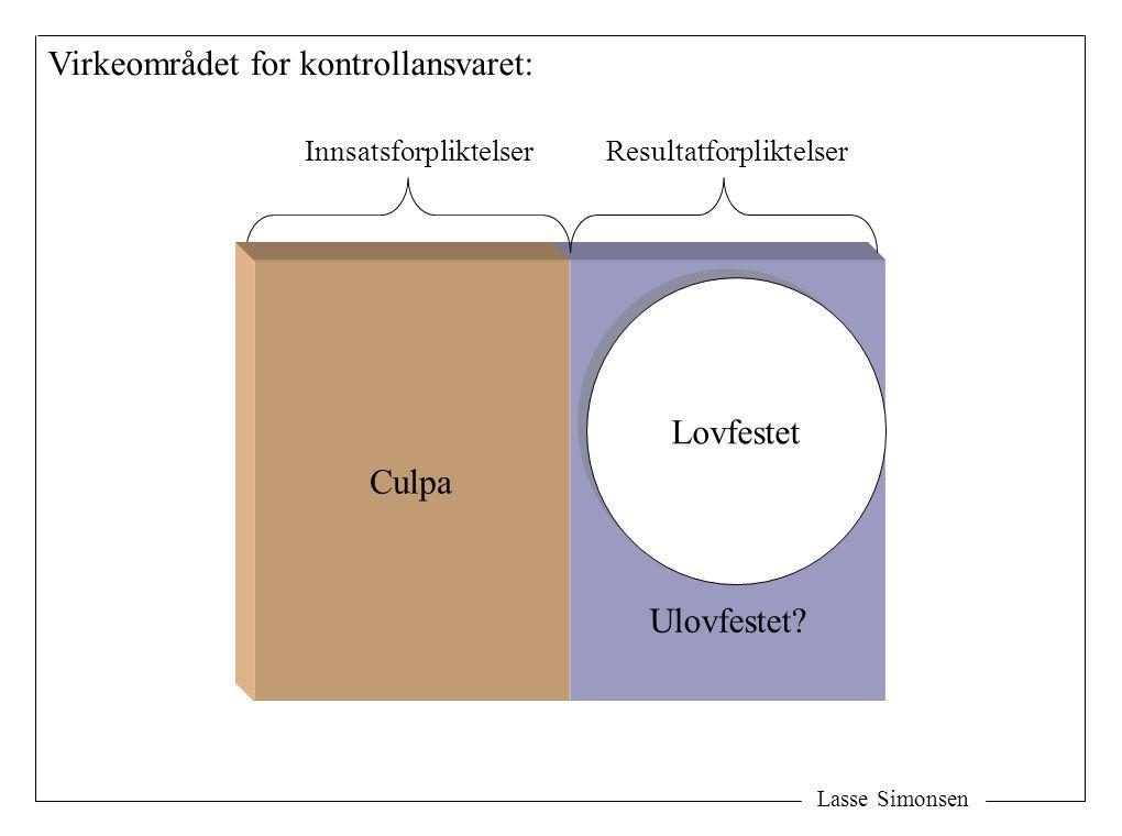 Lasse Simonsen Virkeområdet for kontrollansvaret: Lovfestet InnsatsforpliktelserResultatforpliktelser Ulovfestet.