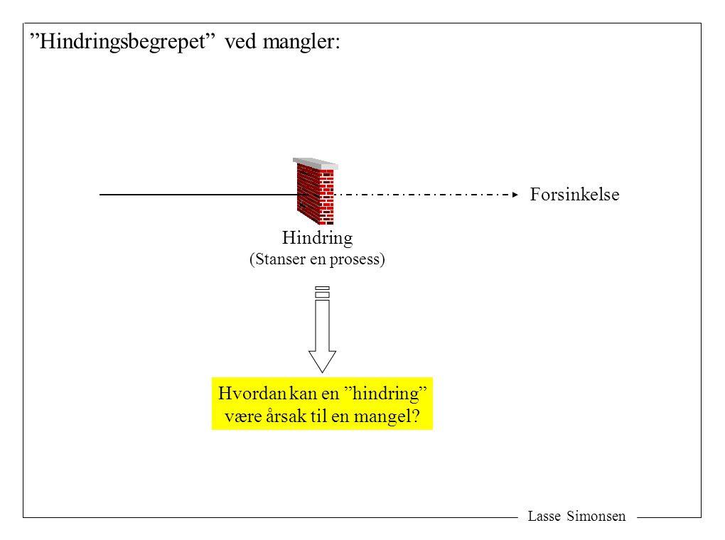 Lasse Simonsen Hindringsbegrepet ved mangler: Forsinkelse Hindring (Stanser en prosess) Hvordan kan en hindring være årsak til en mangel?