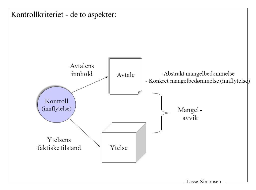 Lasse Simonsen Avtale Ytelse Mangel - avvik Kontroll (innflytelse) Kontroll (innflytelse) Avtalens innhold Ytelsens faktiske tilstand Kontrollkriteriet - de to aspekter: - Abstrakt mangelbedømmelse - Konkret mangelbedømmelse (innflytelse)