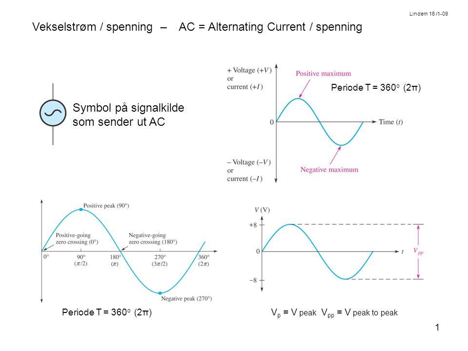 1 Vekselstrøm / spenning – AC = Alternating Current / spenning Symbol på signalkilde som sender ut AC Periode T = 360 o (2π) V p = V peak V pp = V peak to peak Periode T = 360 o (2π) Lindem 16 /1-09