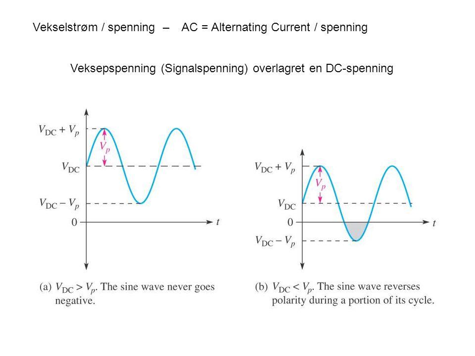 2 Vekselstrøm / spenning – AC = Alternating Current / spenning Veksepspenning (Signalspenning) overlagret en DC-spenning