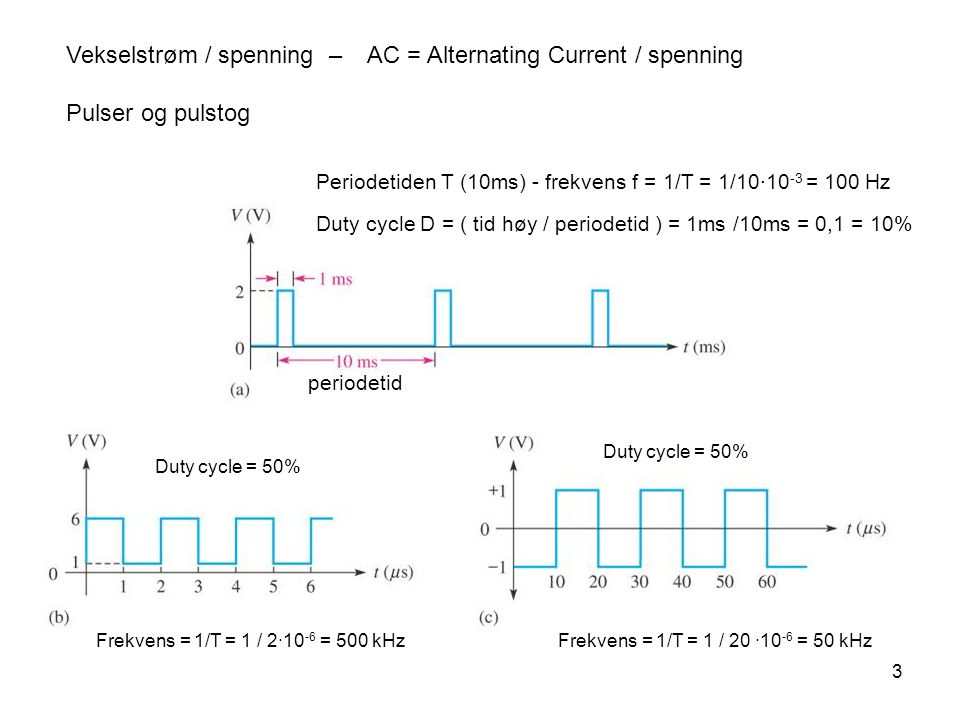 3 Vekselstrøm / spenning – AC = Alternating Current / spenning Pulser og pulstog Periodetiden T (10ms) - frekvens f = 1/T = 1/10·10 -3 = 100 Hz Duty cycle D = ( tid høy / periodetid ) = 1ms /10ms = 0,1 = 10% Duty cycle = 50% Frekvens = 1/T = 1 / 2·10 -6 = 500 kHzFrekvens = 1/T = 1 / 20 ·10 -6 = 50 kHz Duty cycle = 50% periodetid