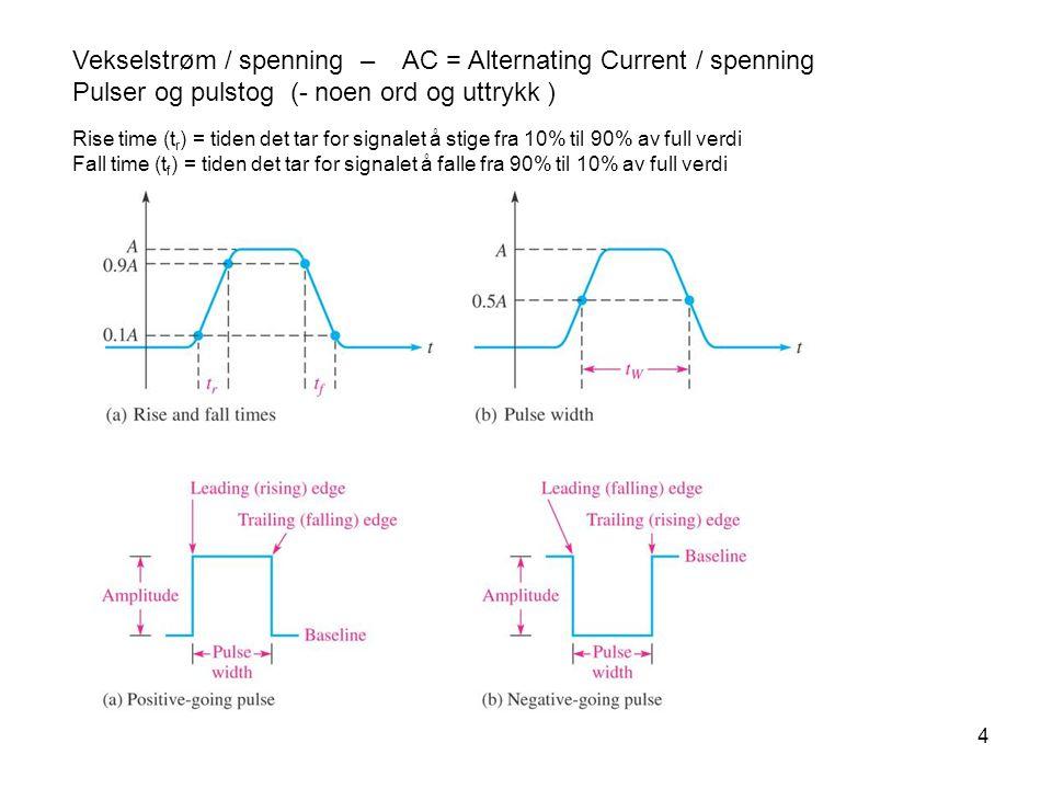 4 Vekselstrøm / spenning – AC = Alternating Current / spenning Pulser og pulstog (- noen ord og uttrykk ) Rise time (t r ) = tiden det tar for signalet å stige fra 10% til 90% av full verdi Fall time (t f ) = tiden det tar for signalet å falle fra 90% til 10% av full verdi