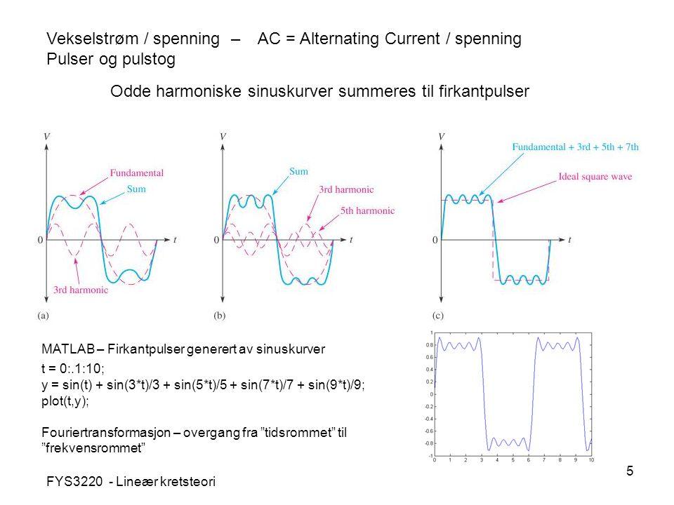 5 Vekselstrøm / spenning – AC = Alternating Current / spenning Pulser og pulstog Odde harmoniske sinuskurver summeres til firkantpulser FYS3220 - Lineær kretsteori MATLAB – Firkantpulser generert av sinuskurver t = 0:.1:10; y = sin(t) + sin(3*t)/3 + sin(5*t)/5 + sin(7*t)/7 + sin(9*t)/9; plot(t,y); Fouriertransformasjon – overgang fra tidsrommet til frekvensrommet