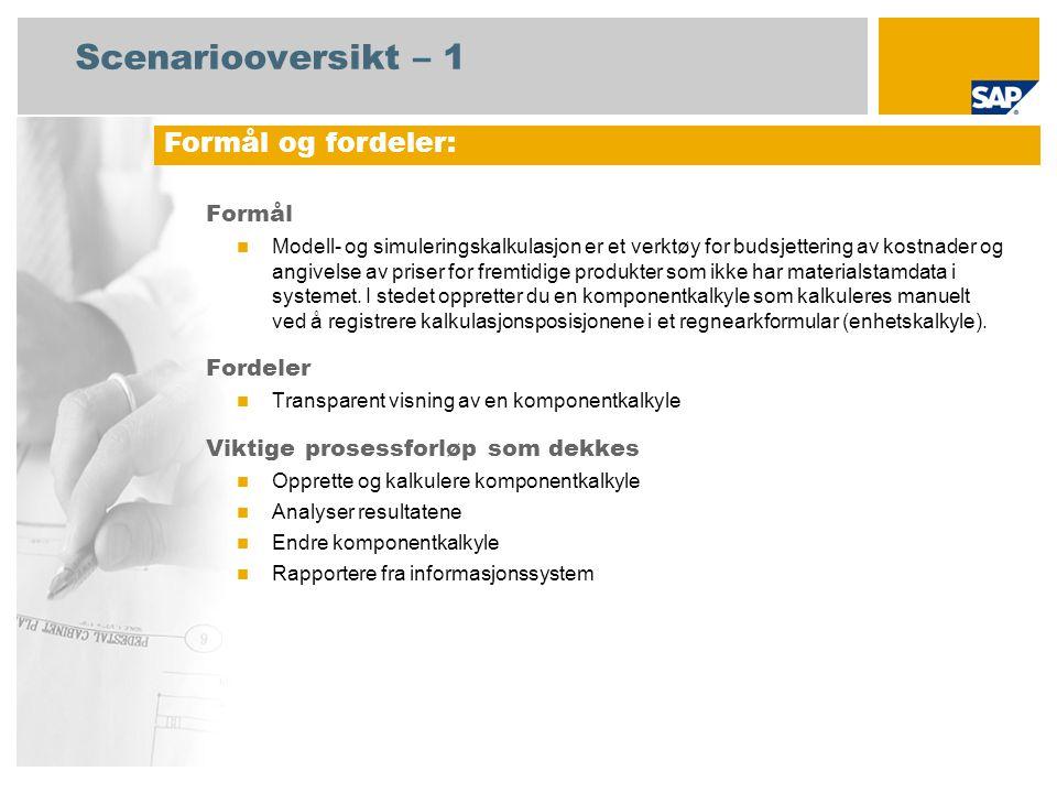 Scenariooversikt – 2 Obligatorisk SAP enhancement package 4 for SAP ERP 6.0 Brukerroller involvert i prosessforløp Produktkostnadscontroller SAP-applikasjoner som kreves: