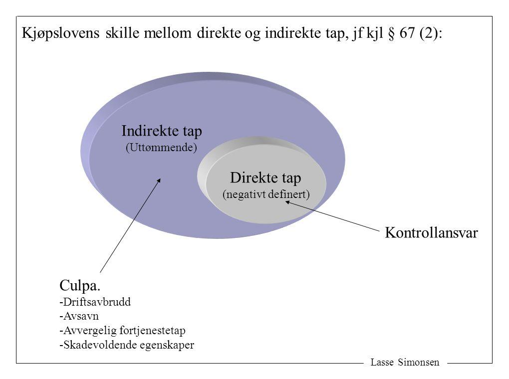 Lasse Simonsen Direkte tap (negativt definert) Indirekte tap (Uttømmende) Kjøpslovens skille mellom direkte og indirekte tap, jf kjl § 67 (2): Culpa.