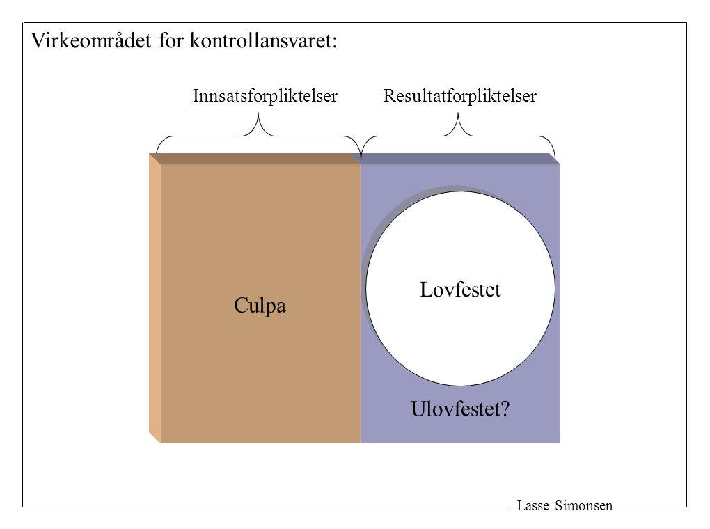 Lasse Simonsen Virkeområdet for kontrollansvaret: Lovfestet InnsatsforpliktelserResultatforpliktelser Ulovfestet? Culpa