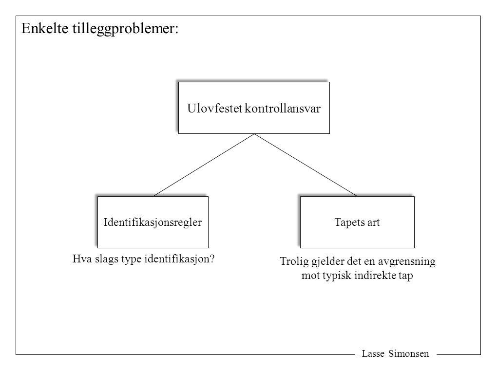 Lasse Simonsen Enkelte tilleggproblemer: Ulovfestet kontrollansvar Identifikasjonsregler Tapets art Trolig gjelder det en avgrensning mot typisk indirekte tap Hva slags type identifikasjon