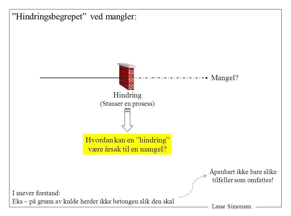 """Lasse Simonsen """"Hindringsbegrepet"""" ved mangler: Mangel? Hindring (Stanser en prosess) Hvordan kan en """"hindring"""" være årsak til en mangel? I snever for"""