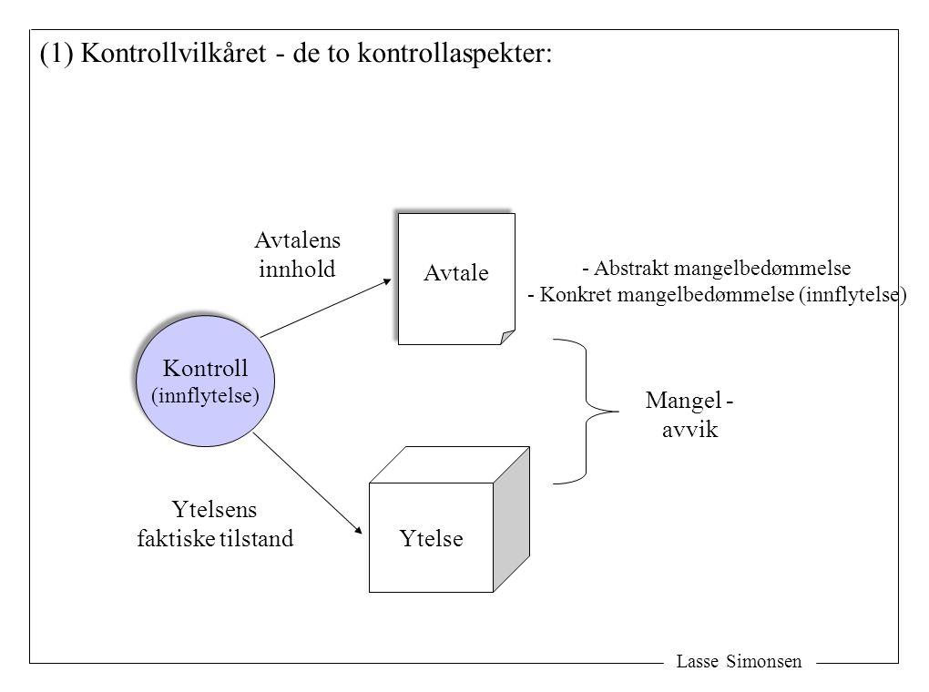 Lasse Simonsen Avtale Ytelse Mangel - avvik Kontroll (innflytelse) Kontroll (innflytelse) Avtalens innhold Ytelsens faktiske tilstand (1) Kontrollvilkåret - de to kontrollaspekter: - Abstrakt mangelbedømmelse - Konkret mangelbedømmelse (innflytelse)