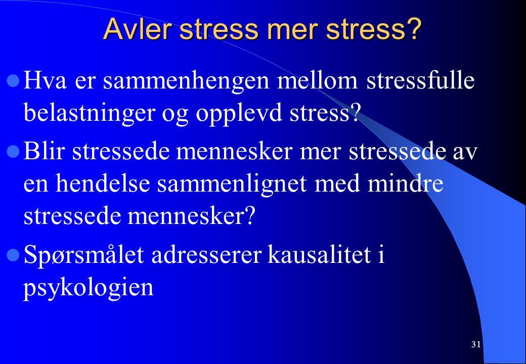 31 Avler stress mer stress? Hva er sammenhengen mellom stressfulle belastninger og opplevd stress? Blir stressede mennesker mer stressede av en hendel