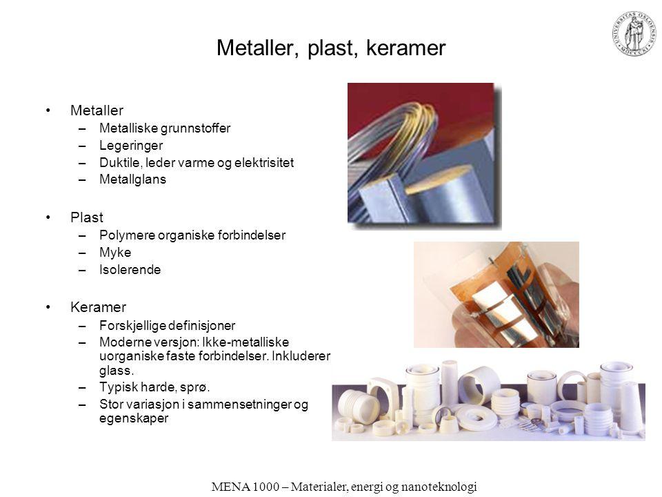 MENA 1000 – Materialer, energi og nanoteknologi Konstruksjonsmaterialer og funksjonelle materialer Konstruksjonsmaterialer (strukturelle materialer) –Mekaniske egenskaper –Styrke –Utseende Funksjonelle materialer –Fysikalske egenskaper