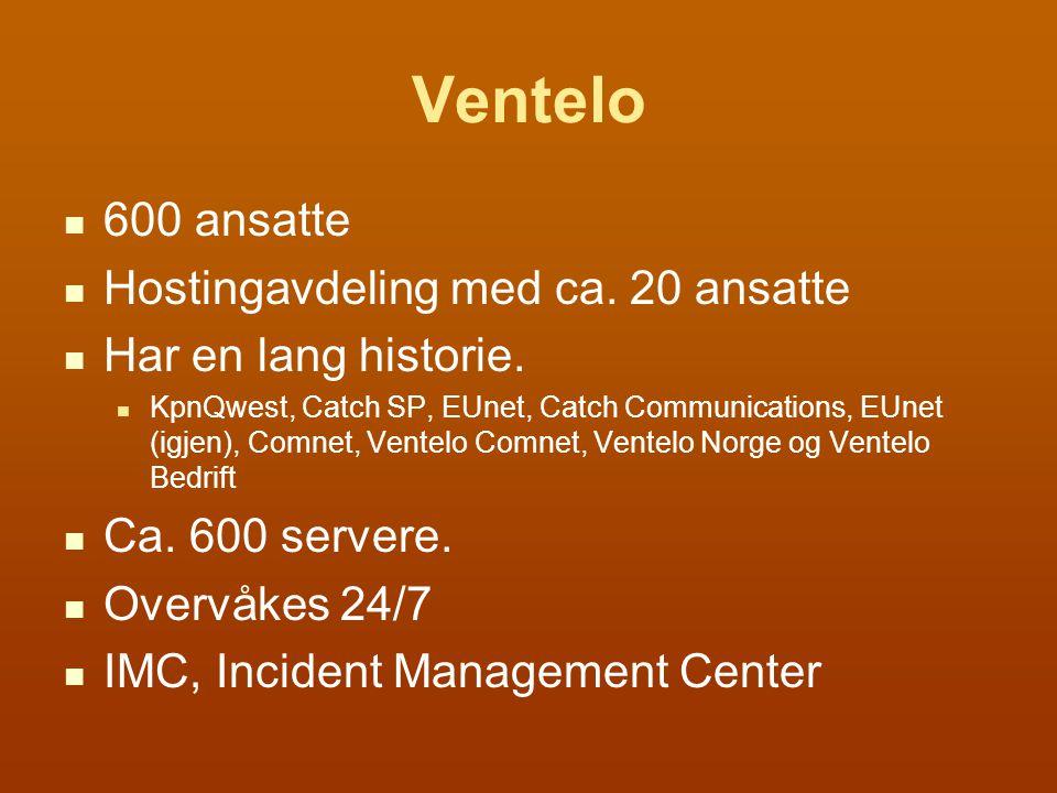 600 ansatte Hostingavdeling med ca. 20 ansatte Har en lang historie.