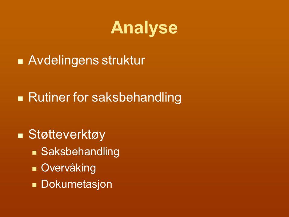 Analyse Avdelingens struktur Rutiner for saksbehandling Støtteverktøy Saksbehandling Overvåking Dokumetasjon
