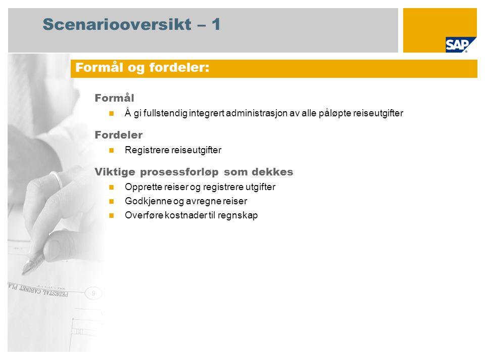 Scenariooversikt – 1 Formål Å gi fullstendig integrert administrasjon av alle påløpte reiseutgifter Fordeler Registrere reiseutgifter Viktige prosessf